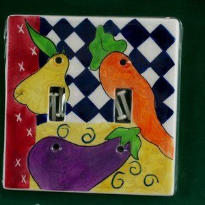 Hand Painted Light Switch Cover Vegetables Double